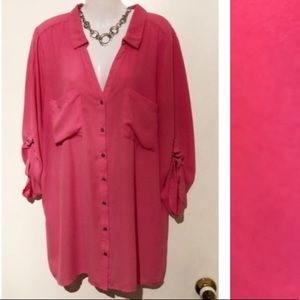 $10🌺 XXL Pink blouse w/ roll up sleeves!!!